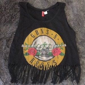 Guns and Roses logo muscle fringe shirt